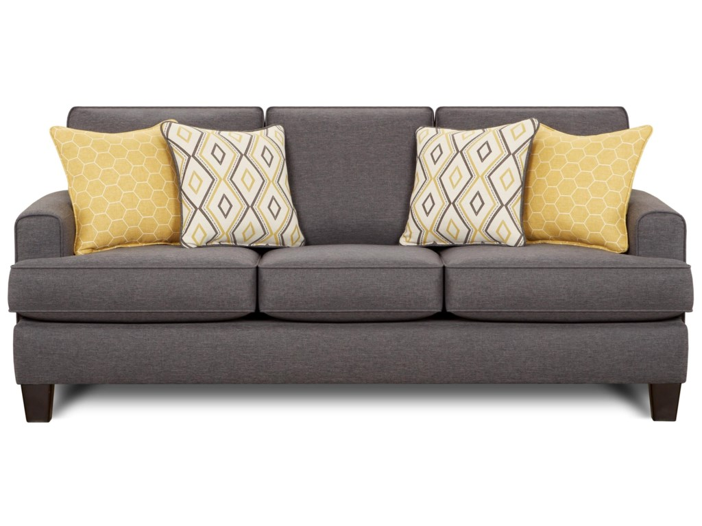 2600 Contemporary Sofa with Small Track Arms by Fusion Furniture at Becker  Furniture World