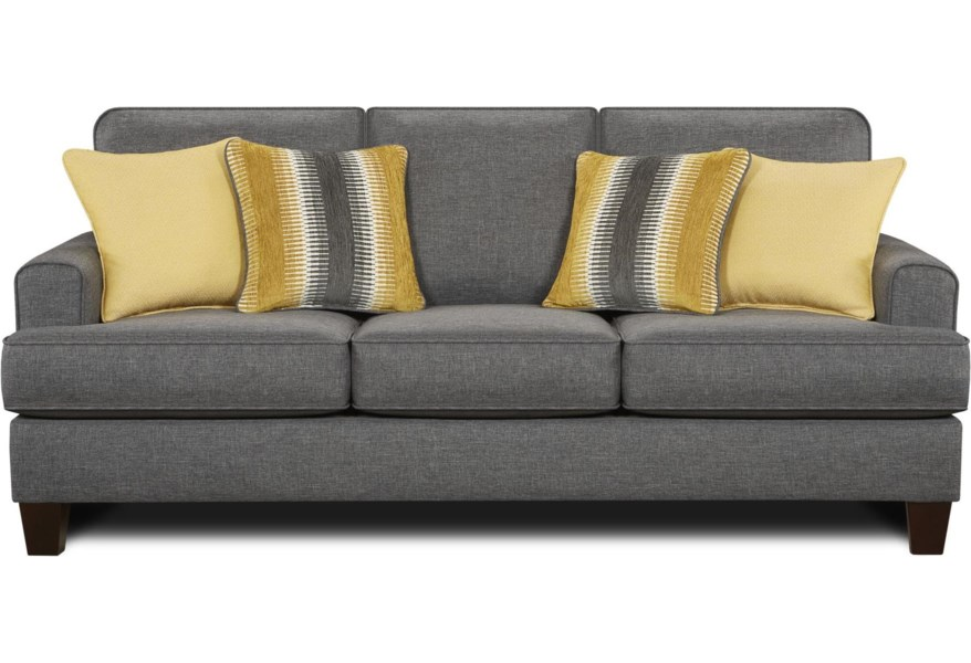 2600 Contemporary Sofa with Small Track Arms by Fusion Furniture at  Steger\'s Furniture