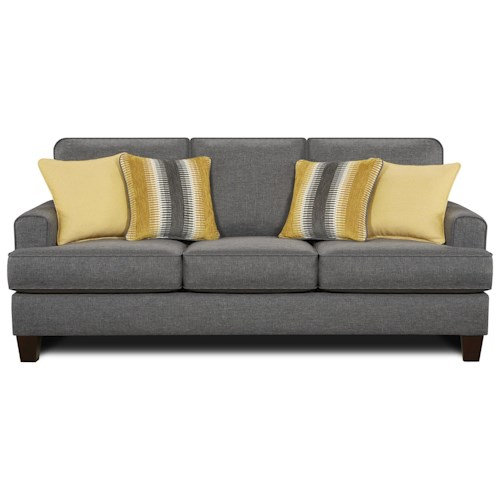 Fusion Furniture 2600 Contemporary Sleeper w/ Exposed Wood Legs