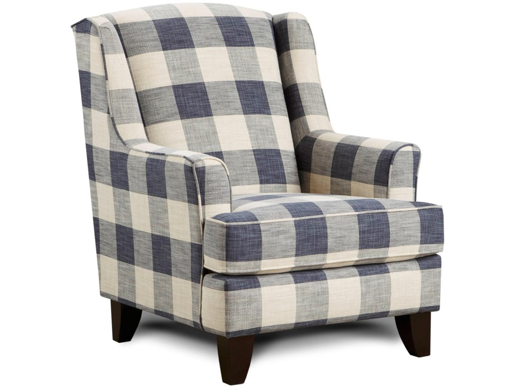 Fusion Furniture 260Indigo Transitional Wing Back Chair