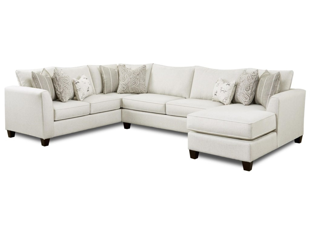 Fusion Furniture 283-Piece Sectional with Chaise