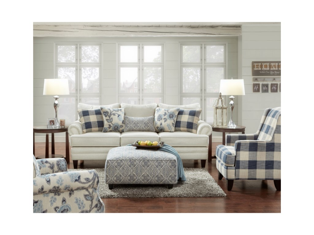 Fusion Furniture Catalina LinenStationary Living Room Group