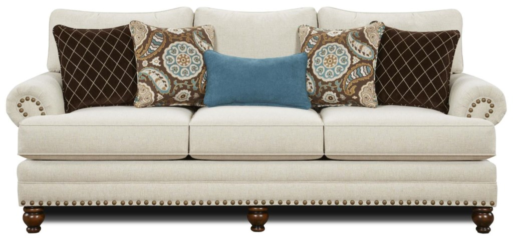 Fusion Furniture 2820 Traditional Sofa With Nailhead Trim Royal