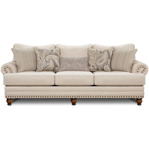 Fusion Furniture 2820 Traditional Sofa with Nailhead Trim
