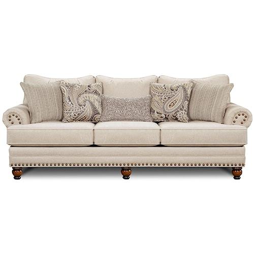 Fusion Furniture 2820 Traditional Sofa with Nailhead Trim