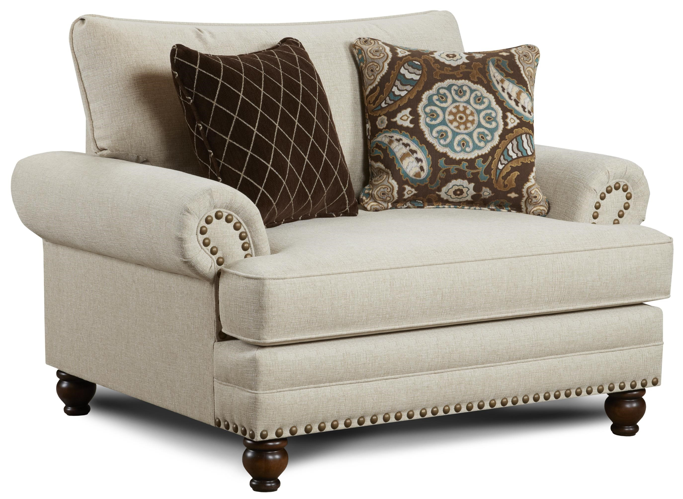 Exceptionnel Fusion Furniture 2820 Traditional Chair And A Half With Nailhead Trim