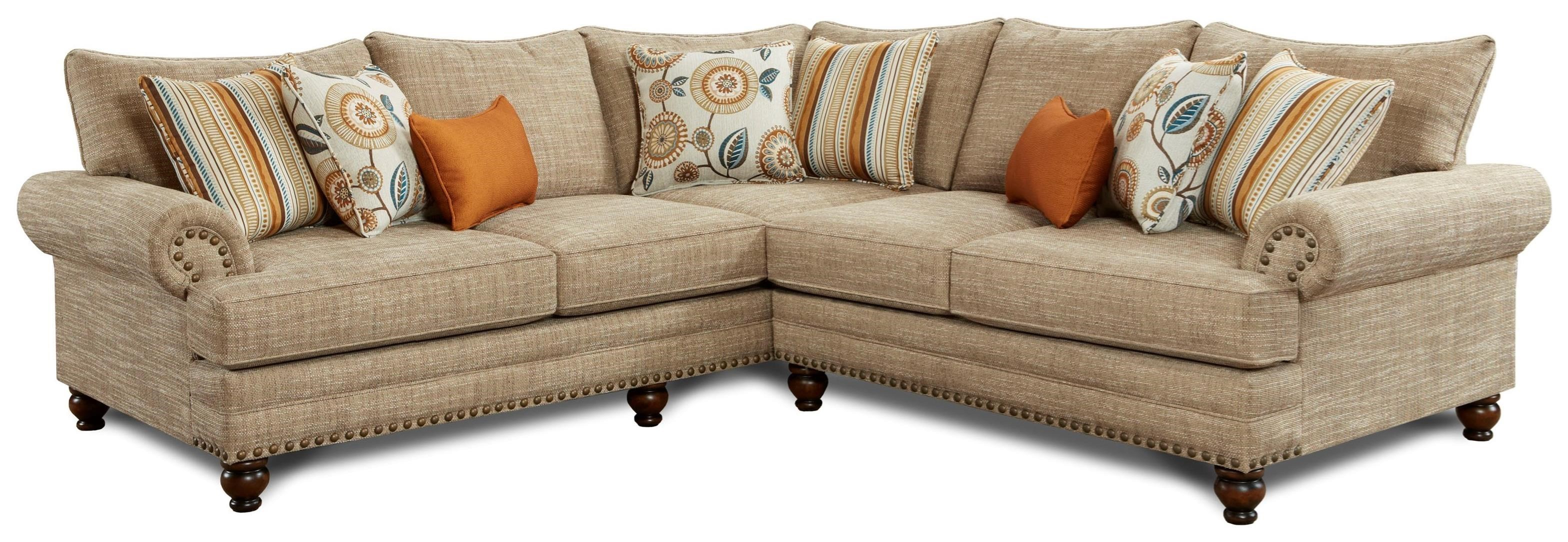 Fusion Furniture 2826 2827 2 Piece Corner Sectional With Nailhead Trim