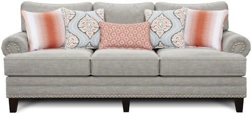 Fusion Furniture 2830 Transitional Sofa with Set-Back Rolled Arms and Nailhead Trim