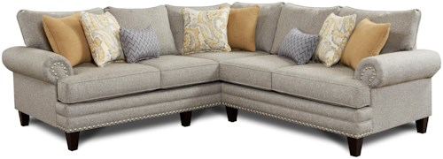 Fusion Furniture 2836-2837 Transitional  2-Piece Corner Sectional with Set-Back Rolled Arms and Nailhead Trim