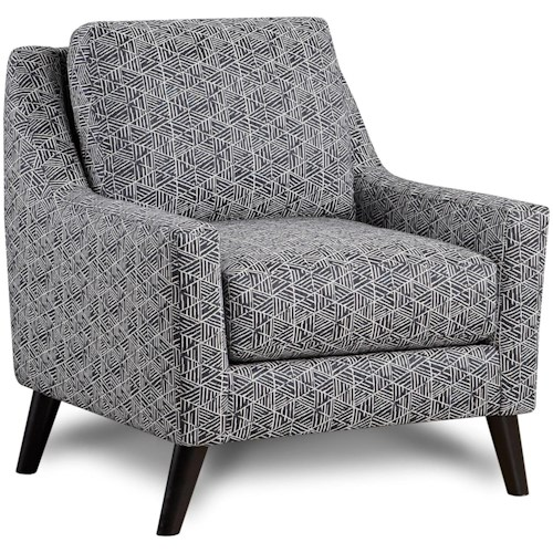Fusion Furniture 290 Contemporary Upholstered Chair with Curving Track Arms