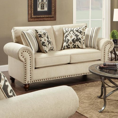 Fusion Furniture Fairleigh Transitional Loveseat with Nailhead Trim