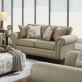 Fusion Furniture 3110 Transitional Loveseat with Nailhead Trim