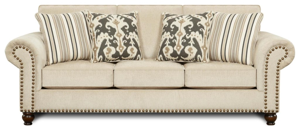Fusion Furniture 3110 Transitional Queen Sleeper Sofa With Nailhead