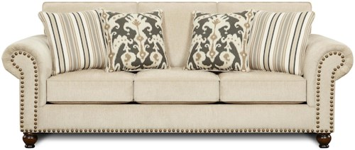 Fusion Furniture 3110 Transitional Queen Sleeper Sofa with Nailhead Trim