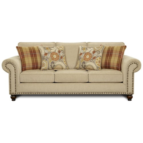 Fusion Furniture 3110 Transitional Queen Sleeper Sofa With