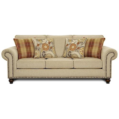 Fusion Furniture 3110 Transitional Queen Sleeper Sofa with Nailhead Trim