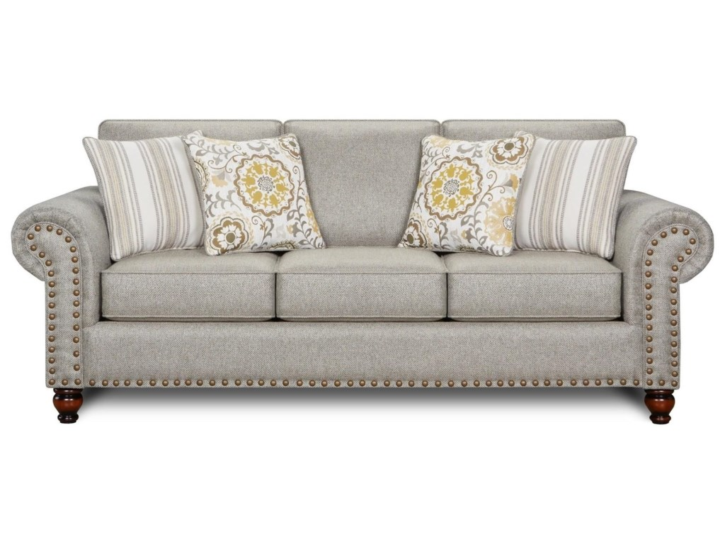 Fusion Furniture Turino SisalRomero Sterling Queen Sleeper Sofa