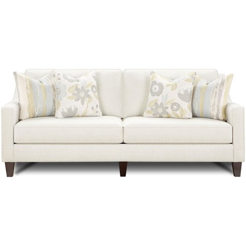 Fusion Furniture 3310 Contemporary Sofa with Tapered Wood Legs