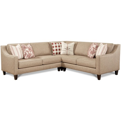 Fusion Furniture 3350 3-Piece Sectional with Sloped Track Arms