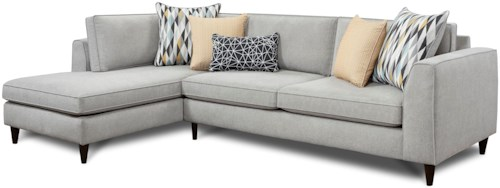 Fusion Furniture 3400 Modern 2-Piece Sectional with Left Chaise