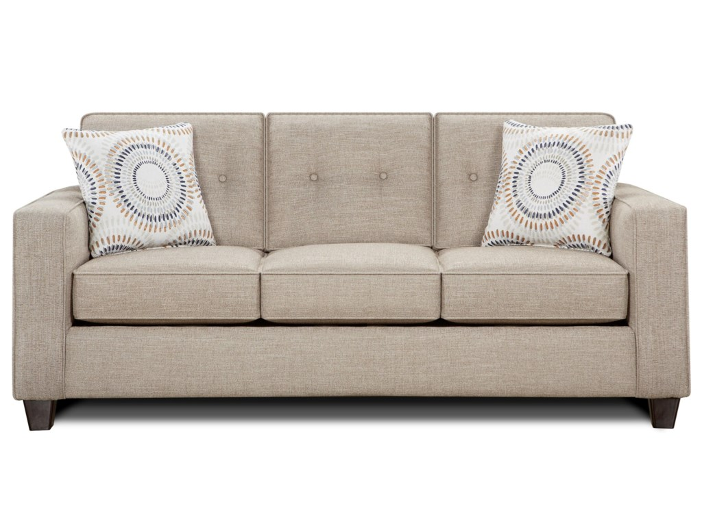 Marin Contemporary Sofa With Track Arms And On Tufted Cushions By Fusion Furniture