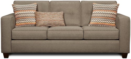Fusion Furniture 3560B Contemporary Sleeper Sofa with Track Arms and Button Tufted Cushions