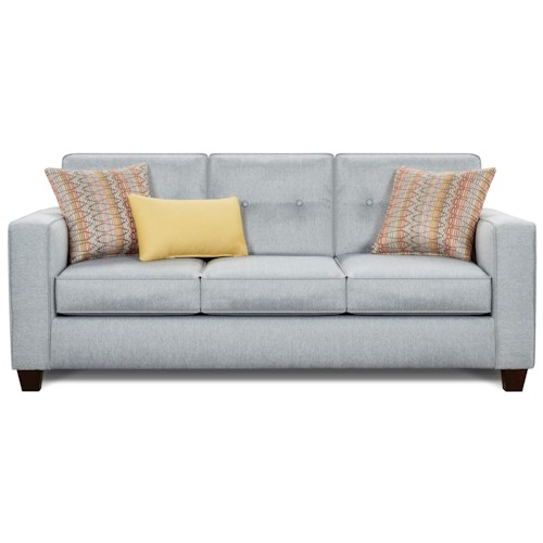 Fusion Furniture 3560B Contemporary Sofa with Track Arms and Button Tufted Cushions