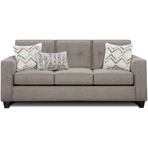 Fusion Furniture 3570B Sofa with Track Arms and Button Tufted Cushions