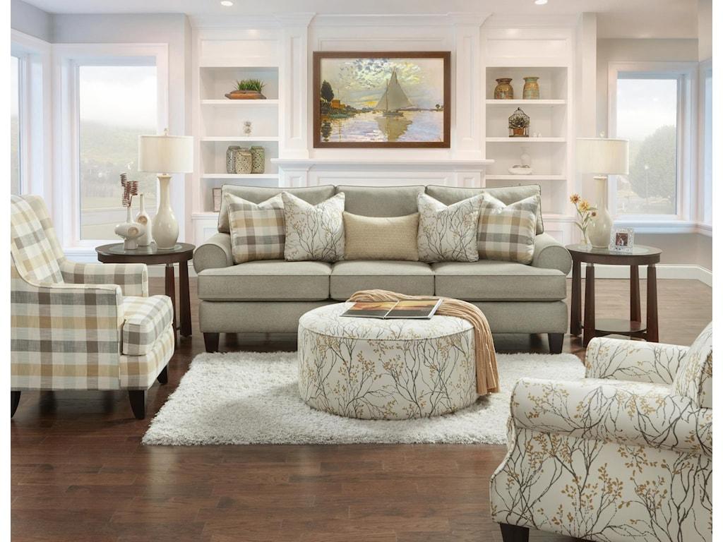 Fusion Furniture 4200Boho Birch Ottoman