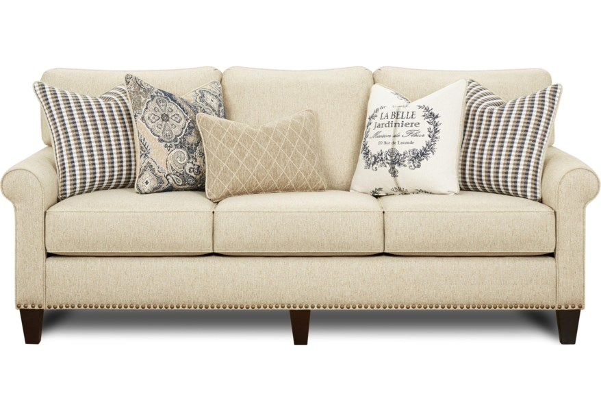 Fusion Furniture 47 00 0179885 Farmhouse Style Sofa With Rolled Arms And Nailhead Trim Becker Furniture Sofas