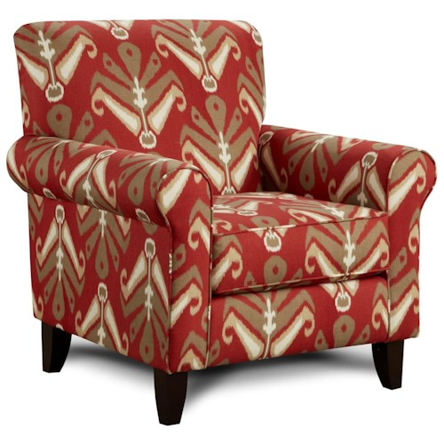 Fusion Furniture 502 Print Fabric Accent Chair