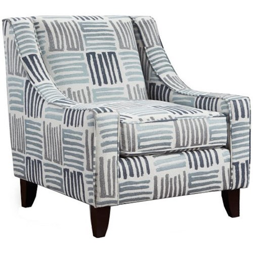 Fusion Furniture 522 Contemporary Accent Chair with Sloping Track Arms