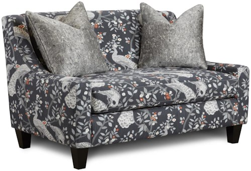 Fusion Furniture 550 Settee with Sloping Track Arms and Two Accent Pillows