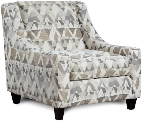 Fusion Furniture 552 Upholstered Accent Chair with Low Profile Arms
