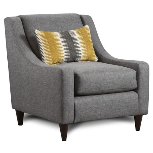 Fusion Furniture 592 Accent Chair with Pillow & Sloping Track Arms & Mid-Century Modern Feet