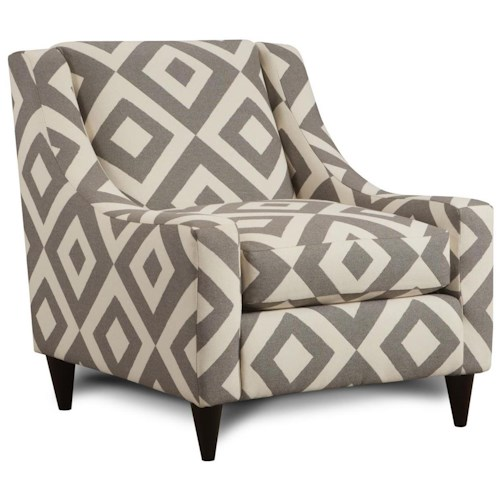 Fusion Furniture 592 Accent Chair with Sloping Track Arms & Mid-Century Modern Feet