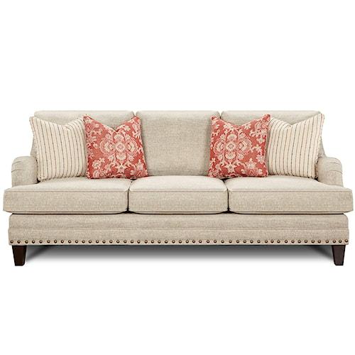 Fusion Furniture 5970 Transitional Sofa with Nail Head Trim