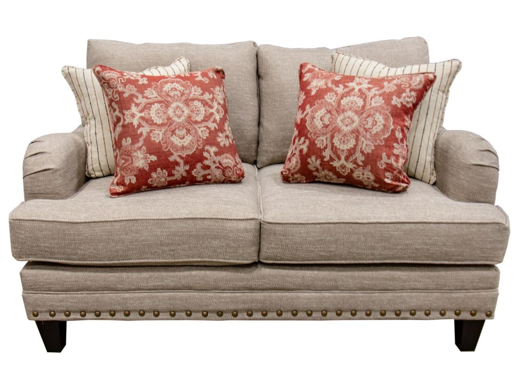 Fusion Furniture Longevity MuslinTransitional Loveseat with Nailhead Trim