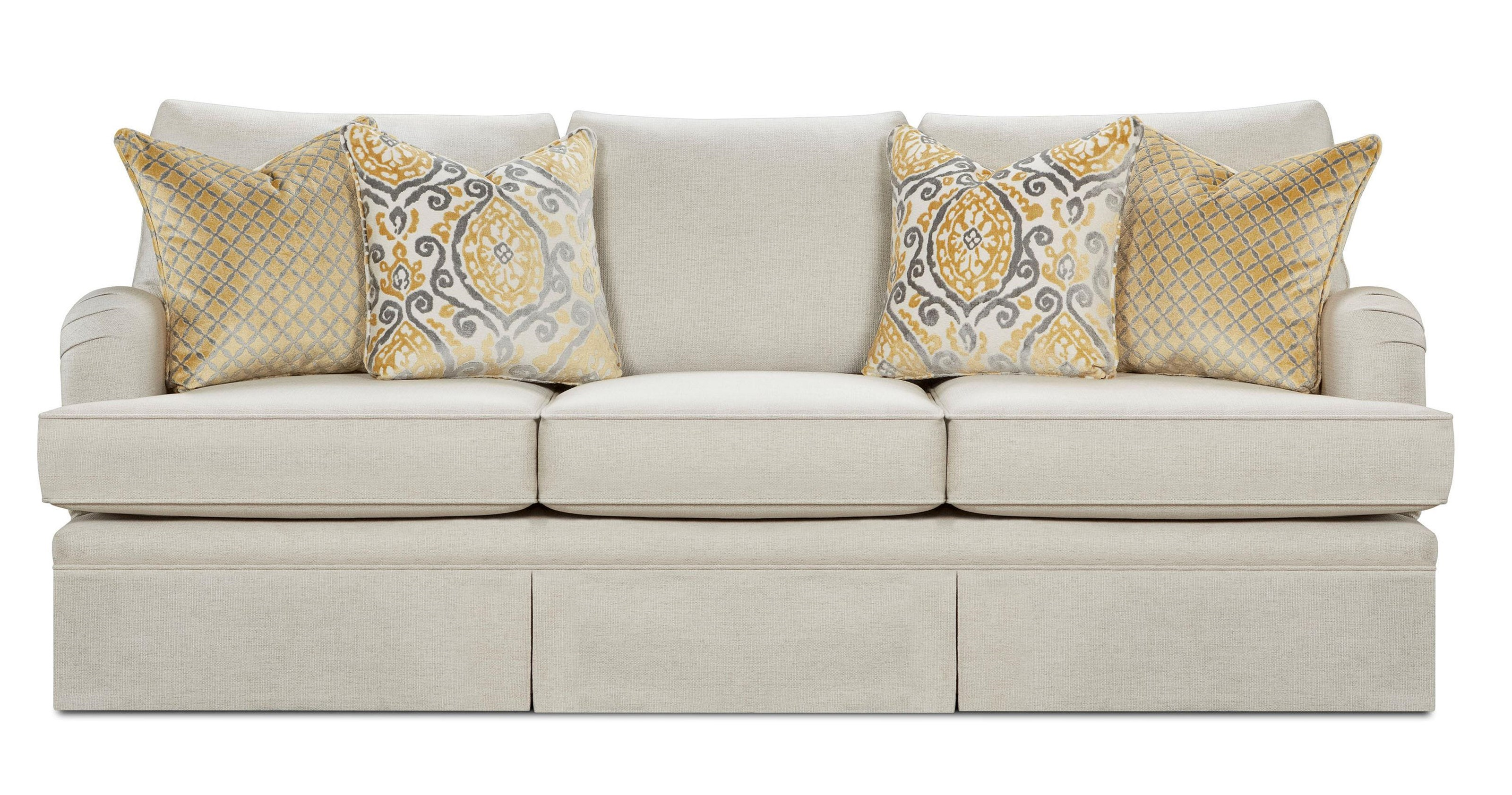 Bon Fusion Furniture 6000 Parker Linen Traditional Sofa With English Arms And  Skirt Base