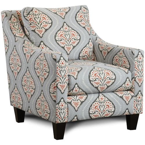 Fusion Furniture 862 Contemporary Accent Chair with Sloped Track Arms