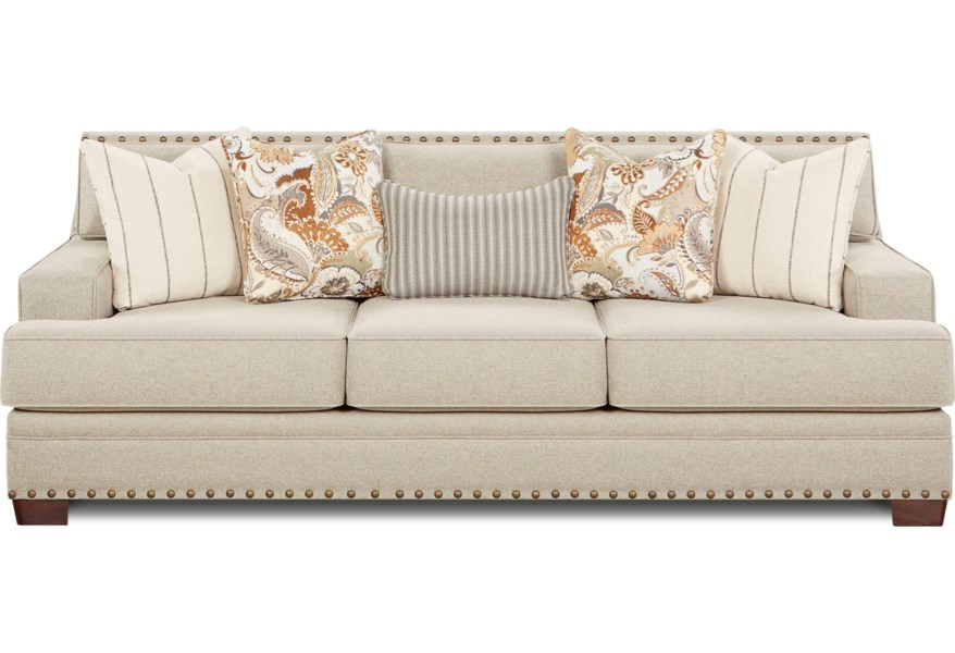 8700 Contemporary Sofa with Track Arms and Nail Head Trim by Fusion  Furniture at Houston\'s Yuma Furniture