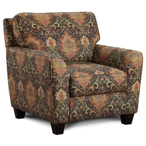 Fusion Furniture 952 Upholstered Arm Chair with Flared Arms