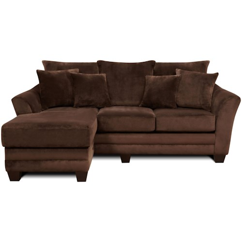 Fusion Furniture 9708 Contemporary Scattered-back Sofa with Chaise Lounge