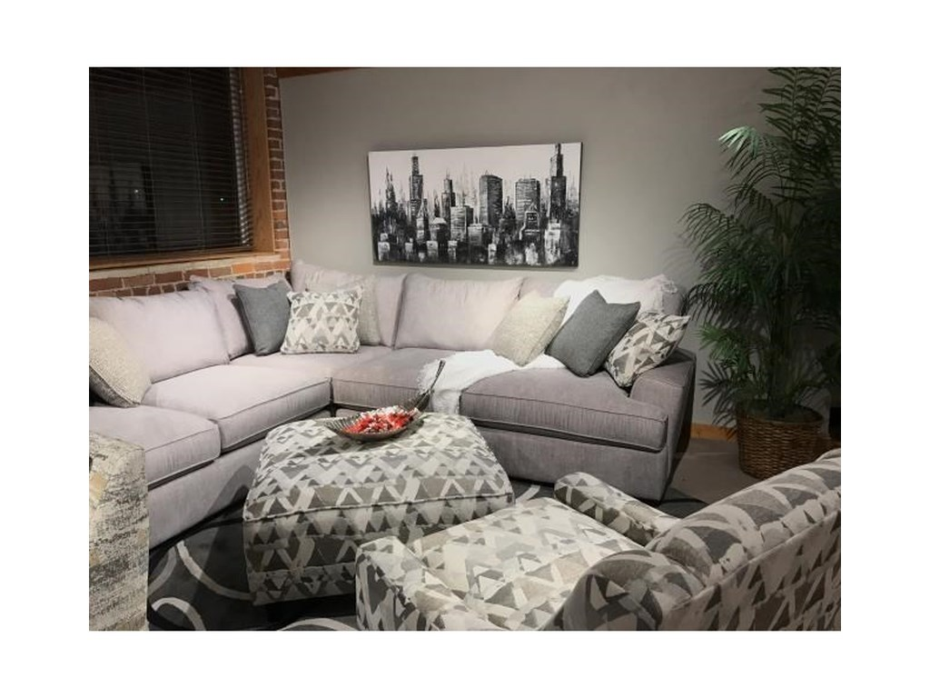 Fusion Furniture Alton SilverL-Shaped Sectional