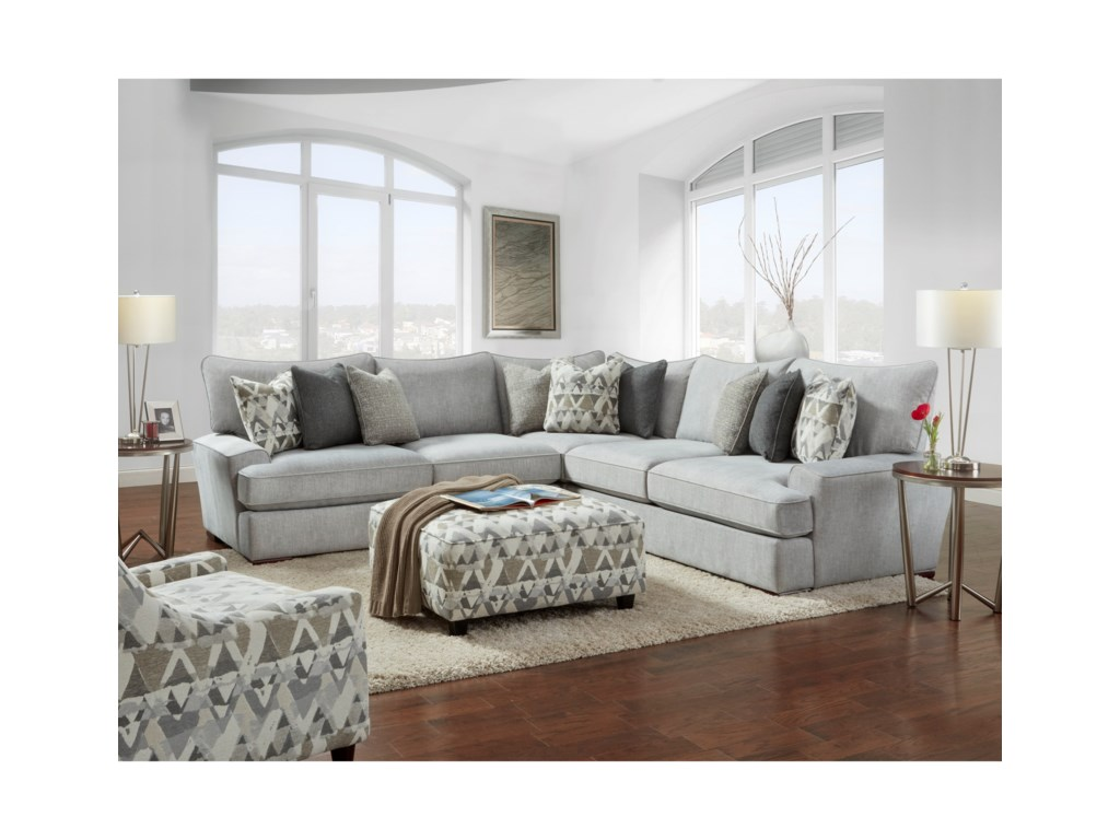 Fusion Furniture Alton Silver Stationary Living Room Group ...