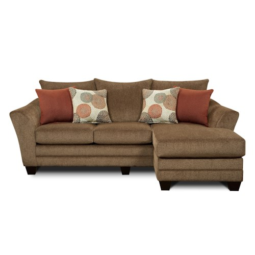 Fusion Furniture 9700 Contemporary Stationary Sofa with Chaise