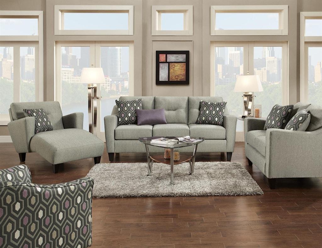 Fusion Furniture 8210 8210 KPDecade Graphite Contemporary Sofa