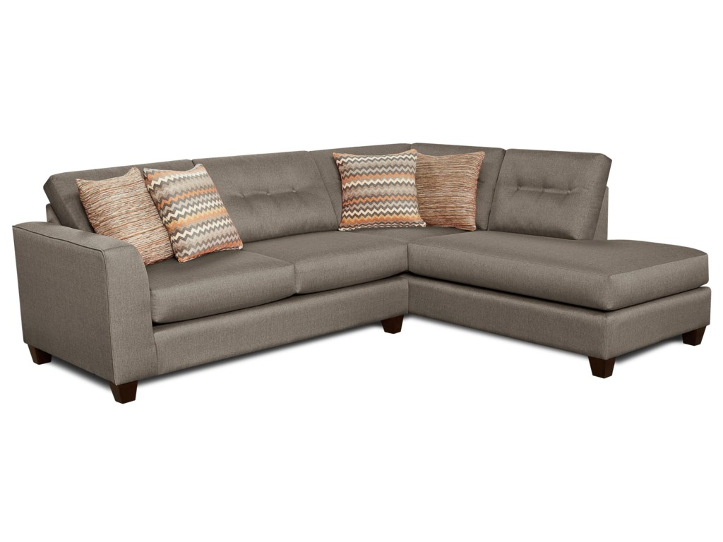 Fusion Furniture Fandango Mocha Contemporary Sectional Sofa With Right Arm Facing Chaise Miskelly Sofas
