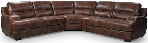 Futura Leather 10015 Casual Sectional Sofa with Track Arm and Block Feet