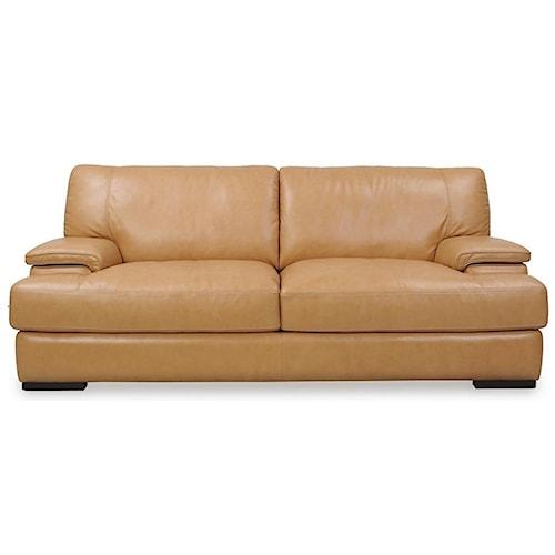 Loft Leather Nassau Casual Leather Sofa w/ Wide Seat Cushions